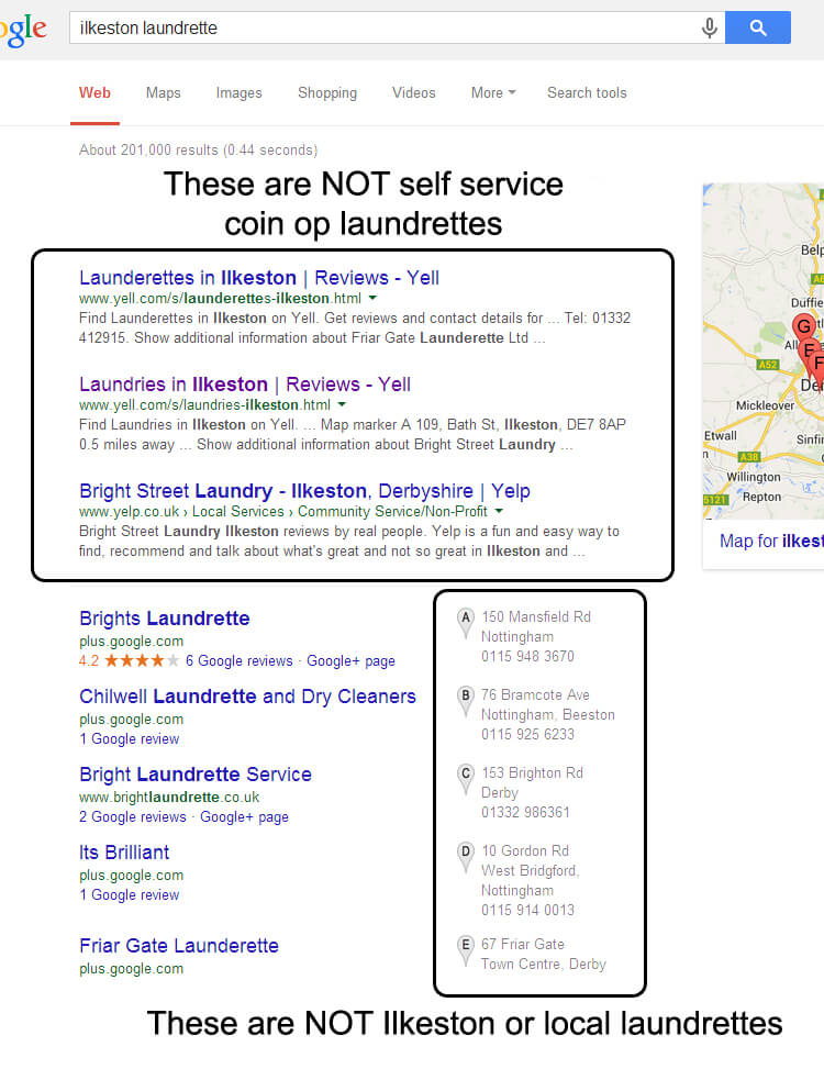 Local laundrette Google search results