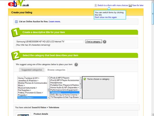 eBay create listing