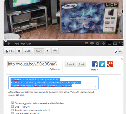 YouTube embed code