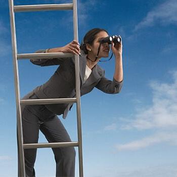 Girl on a Ladder with Binoculars