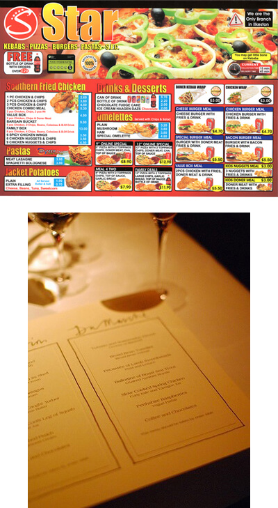 Menu Design Marketing