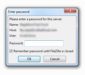 FileZilla Enter Password