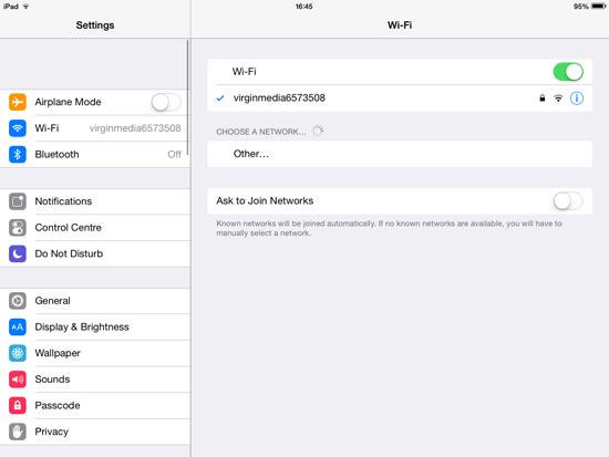 iPad wi-fi settings
