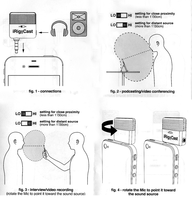 iRig Mic Cast Instruction Booklet diagrams