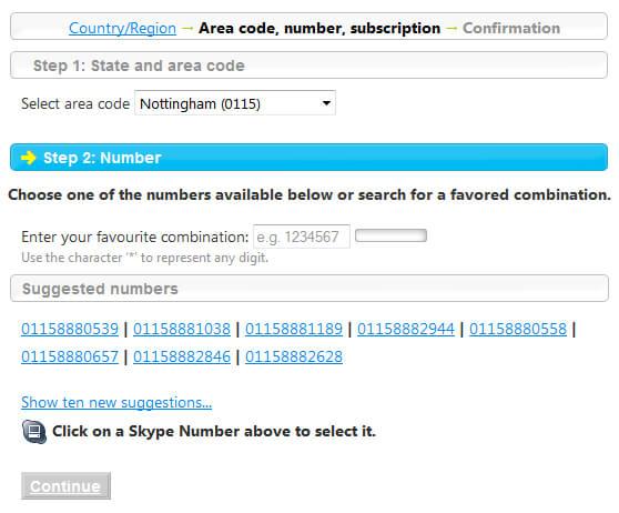 Select SkypeIn Online Number