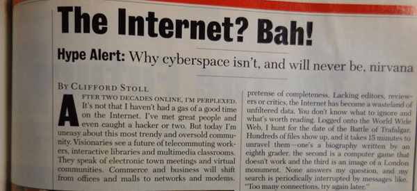 Newsweek Internet Article from 1995