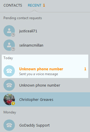 Voicemail Received Skype