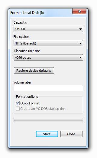 NTFS USB format