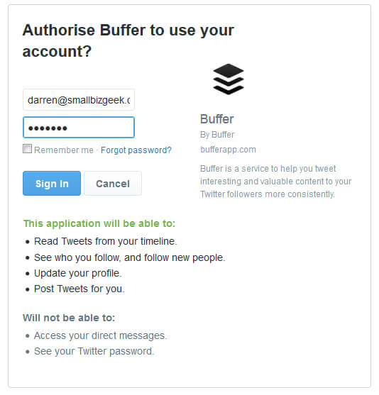 Buffer Sign In Twitter