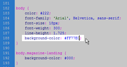 CSS Stylesheet Color Hex Value