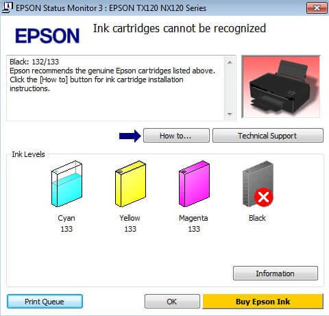 Epson Ink Status Monitor Error