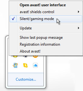 Avast System Tray Silent Mode