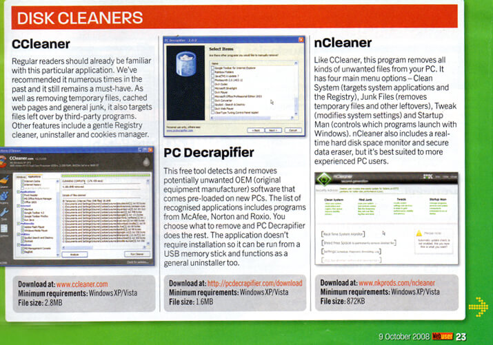nCleaner Web User Magazine 2008 Review