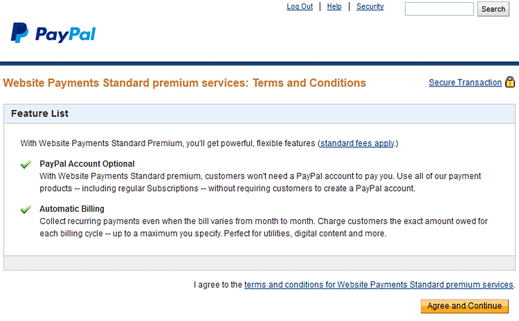 PayPal Website Payments Premium Standard