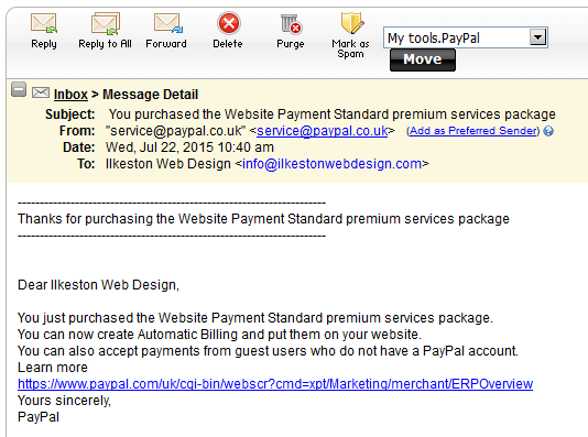 PayPal Website Payments  Standard Premium Confirmation Email