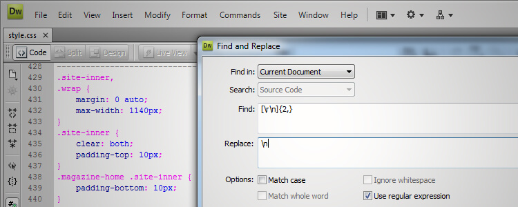Dreamweaver Find & Replace Screenshot
