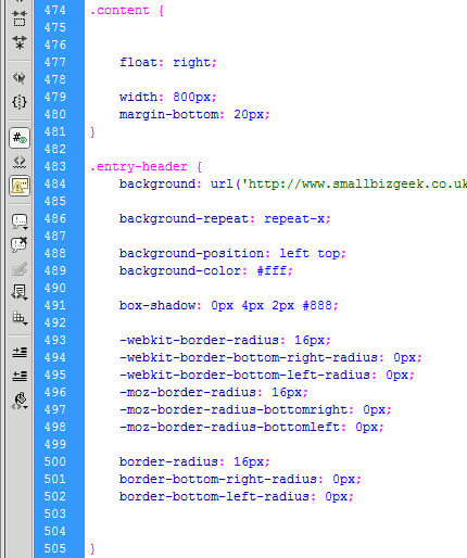 CSS Rules Stylesheet Blank Lines