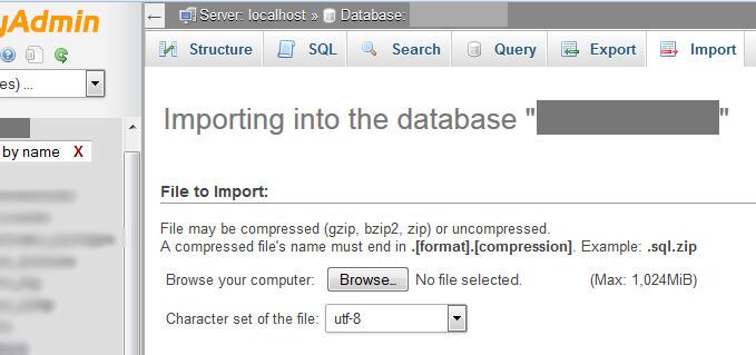 phpMyAdmin Import database