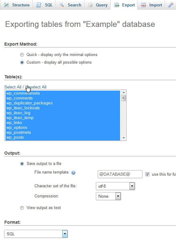 phpMyAdmin Custom Export options
