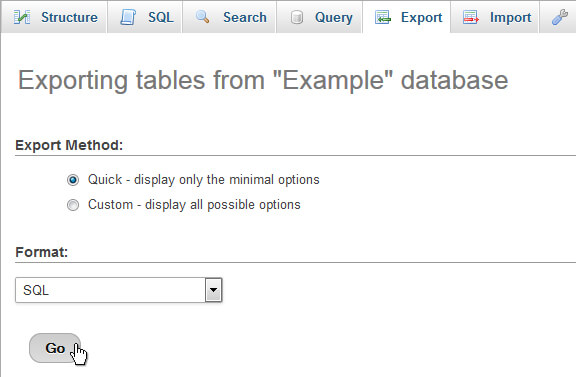 phpMyAdmin Export Tables
