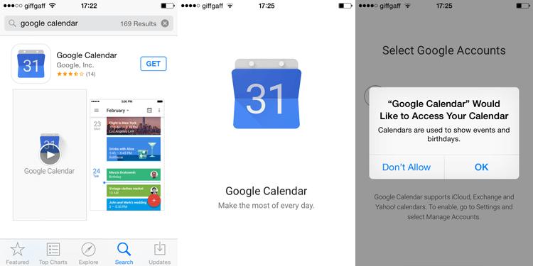Google Calendar iOS App Installation