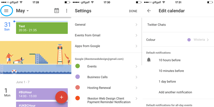 Google Calendar iOS App Notification Defaults