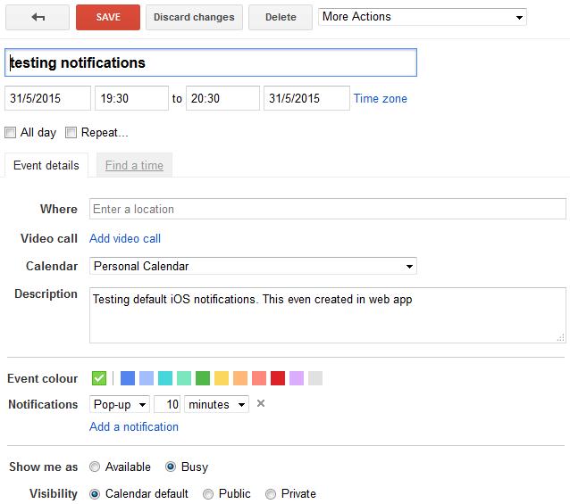 Google Calendar App Event Added