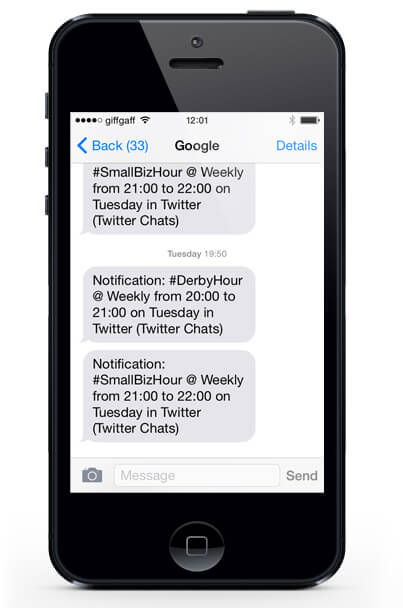 iPhone Tweetchat SMS Reminders