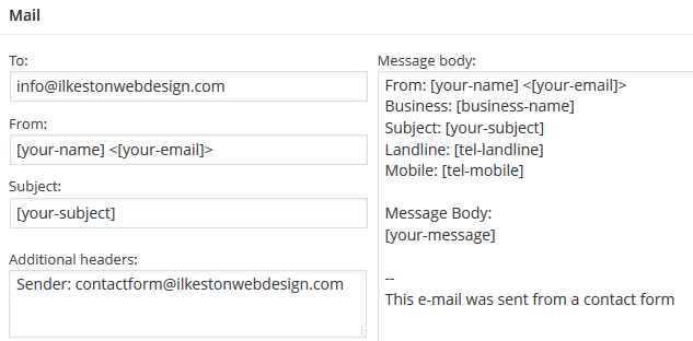 Contact Form 7 Header Configuration