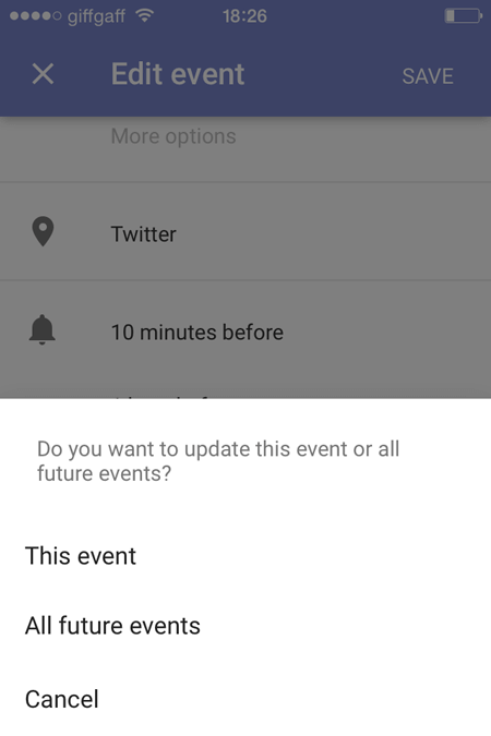 Google Calendar app update events