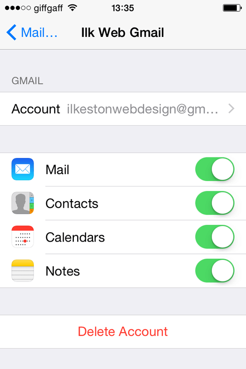 iPhone Add Gmail Account Settings