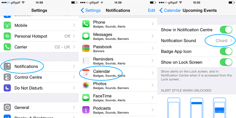 iPhone notification settings