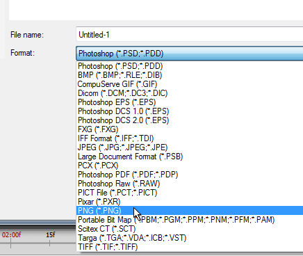 I always choose File > Save As and then select PNG