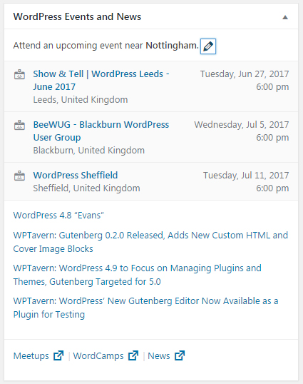 WordPress nearest local meetup.com results
