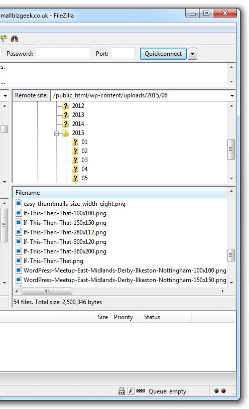 FileZilla WordPress Uploads Folder