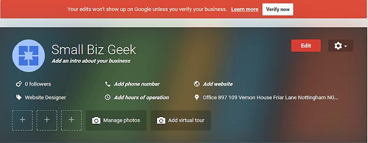 Google Listing Unverified
