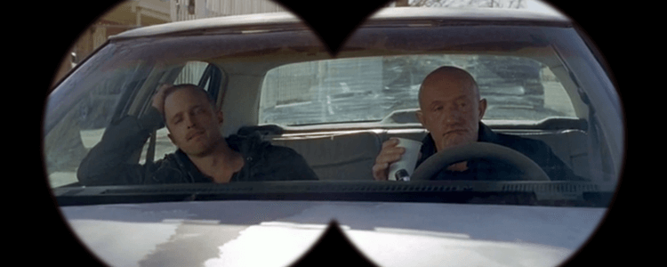 Jesse and Mike in Breaking Bad Stakeout