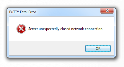 PuTTY server network closed