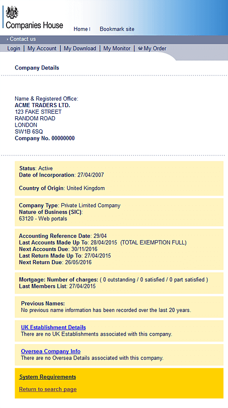 Companies House Search Example
