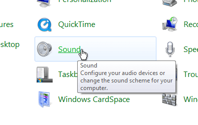 Windows Control Panel Sound