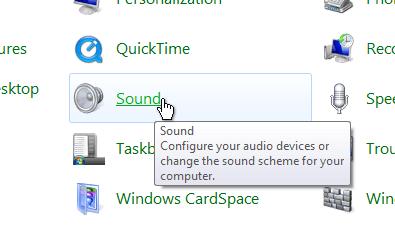 Windows Control Panel Sound