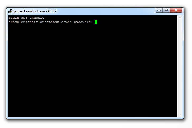 PuTTY SSH Enter Username and Password Screenshot