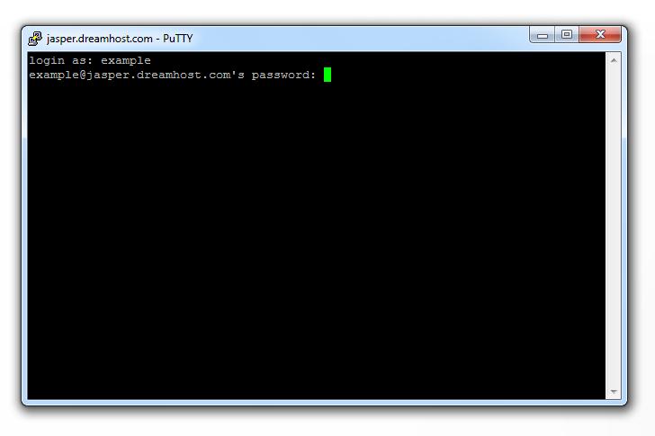PuTTY SSH Enter Username and Password Screenshot