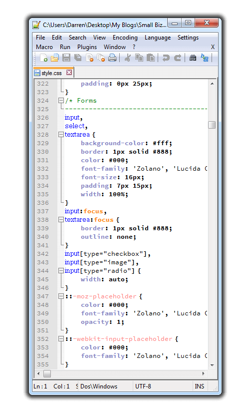Notepad++ Style.CSS