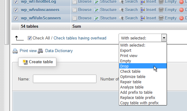 phpMyAdmin Drop Tables
