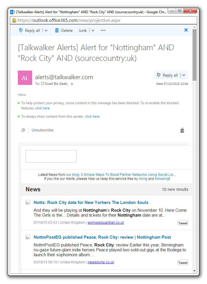 Talkwalker Email Alert