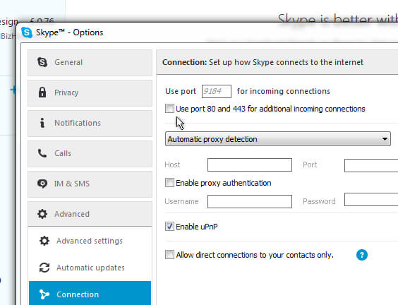 Disable port 80 in Skype