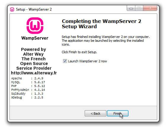 WAMP Installation complete