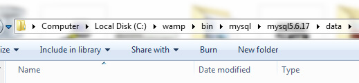 WAMP MySQL folder