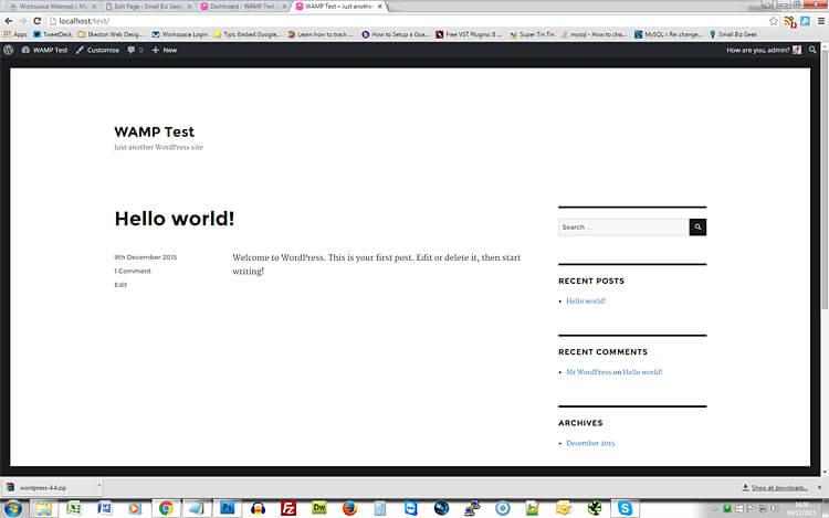 WAMP WordPress front page